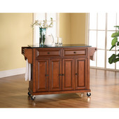 Solid Black Granite Top Kitchen Cart/Island in Classic Cherry Finish, 51-1/2'' W x 18'' D x 36'' H