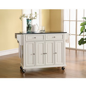 Solid Black Granite Top Kitchen Cart/Island in White Finish, 51-1/2'' W x 18'' D x 36'' H