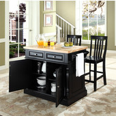 Butcher Block Top Kitchen Island in Black Finish, 49'' W x 23'' D x 35 3/4'' H, with  School House Stools