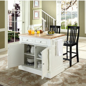 Butcher Block Top Kitchen Island in White Finish, 49'' W x 23'' D x 35 3/4'' H, with School House Stools