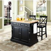 Butcher Block Top Kitchen Island in Black Finish, 49'' W x 23'' D x 35 3/4'' H, with X-Back Stools