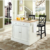 Butcher Block Top Kitchen Island in White Finish, 49'' W x 23'' D x 35 3/4'' H, with X-Back Stools