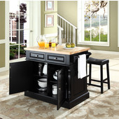 Butcher Block Top Kitchen Island in Black Finish, 49'' W x 23'' D x 35 3/4'' H, with Saddle Stools
