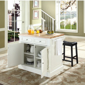 Butcher Block Top Kitchen Island in White Finish, 49'' W x 23'' D x 35 3/4'' H, with Saddle Stools