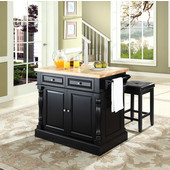 Butcher Block Top Kitchen Island in Black Finish, 49'' W x 23'' D x 35 3/4'' H, with Square Seat Stools