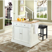 Butcher Block Top Kitchen Island in White Finish, 49'' W x 23'' D x 35 3/4'' H, with Square Seat Stools