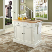 Butcher Block Top Kitchen Island in White Finish, 49'' W x 23'' D x 35 3/4'' H