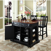 Drop Leaf Breakfast Bar Top Kitchen Island, Black, 47 3/4'' W x 23 3/4'' D x 36'' H, with School House Stools