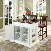 Drop Leaf Breakfast Bar Top Kitchen Island, White, 47 3/4'' W x 23 3/4'' D x 36'' H, School House Stools