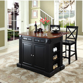 Drop Leaf Breakfast Bar Top Kitchen Island, Black, 47 3/4'' W x 23 3/4'' D x 36'' H, with X-Back Stools
