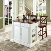 Drop Leaf Breakfast Bar Top Kitchen Island, White, 47 3/4'' W x 23 3/4'' D x 36'' H, X-Back Stools
