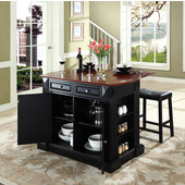 Drop Leaf Breakfast Bar Top Kitchen Island, Black, 47 3/4'' W x 23 3/4'' D x 36'' H, with Saddle Stools