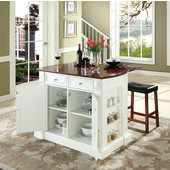 Drop Leaf Breakfast Bar Top Kitchen Island, White, 47 3/4'' W x 23 3/4'' D x 36'' H, Saddle Stools