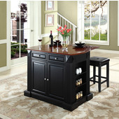 Drop Leaf Breakfast Bar Top Kitchen Island, Black, 47 3/4'' W x 23 3/4'' D x 36'' H, with Square Seat Stools