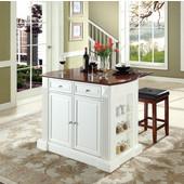 Drop Leaf Breakfast Bar Top Kitchen Island, White, 47 3/4'' W x 23 3/4'' D x 36'' H, Square Seat Stools