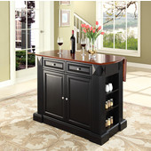 Drop Leaf Breakfast Bar Top Kitchen Island, 47 3/4'' W x 25'' D x 36'' H, Black with Cherry Top