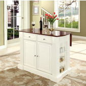 Drop Leaf Breakfast Bar Top Kitchen Island, 47 3/4'' W x 25'' D x 36'' H, White with Cherry Top