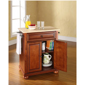 Alexandria Natural Wood Top Portable Kitchen Island in Classic Cherry Finish, 28-1/4'' W x 18'' D x 36''H