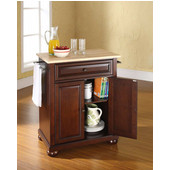 Alexandria Natural Wood Top Portable Kitchen Island in Vintage Mahogany Finish, 28-1/4'' W x 18'' D x 36''H
