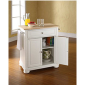 Alexandria Natural Wood Top Portable Kitchen Island in White Finish, 28-1/4'' W x 18'' D x 36''H