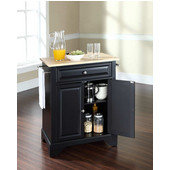 LaFayette Natural Wood Top Portable Kitchen Island in Black Finish, 28-1/4'' W x 18'' D x 36''H