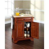 LaFayette Natural Wood Top Portable Kitchen Island in Classic Cherry Finish, 28-1/4'' W x 18'' D x 36''H
