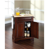 LaFayette Natural Wood Top Portable Kitchen Island in Vintage Mahogany Finish, 28-1/4'' W x 18'' D x 36''H