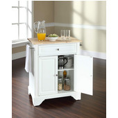 LaFayette Natural Wood Top Portable Kitchen Island in White Finish, 28-1/4'' W x 18'' D x 36''H