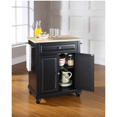 Cambridge Natural Wood Top Portable Kitchen Island in Black Finish, 28-1/4'' W x 18'' D x 36''H