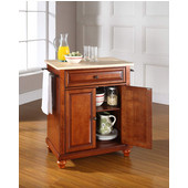 Cambridge Natural Wood Top Portable Kitchen Island in Classic Cherry Finish, 28-1/4'' W x 18'' D x 36''H