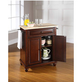 Cambridge Natural Wood Top Portable Kitchen Island in Vintage Mahogany Finish, 28-1/4'' W x 18'' D x 36''H