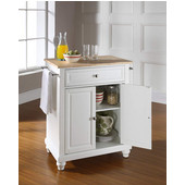 Cambridge Natural Wood Top Portable Kitchen Island in White Finish, 28-1/4'' W x 18'' D x 36''H