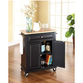 Natural Wood Top Portable Kitchen Cart/Island in Black Finish, 31'' W x 18'' D x 36''H (28-1/4'' W w/ out Towel Bars)
