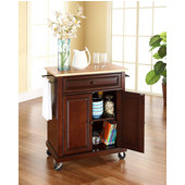 Natural Wood Top Portable Kitchen Cart/Island in Vintage Mahogany Finish, 31'' W x 18'' D x 36''H (28-1/4'' W w/ out Towel Bars)