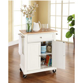 Natural Wood Top Portable Kitchen Cart/Island in White Finish, 31'' W x 18'' D x 36''H (28-1/4'' W w/ out Towel Bars)