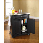 Alexandria Stainless Steel Top Portable Kitchen Island in Black Finish, 28-1/4'' W x 18'' D x 36''H