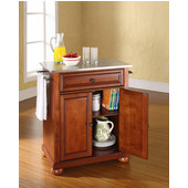 Alexandria Stainless Steel Top Portable Kitchen Island in Classic Cherry Finish, 28-1/4'' W x 18'' D x 36''H