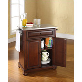 Alexandria Stainless Steel Top Portable Kitchen Island in Vintage Mahogany Finish, 28-1/4'' W x 18'' D x 36''H