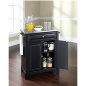 LaFayette Stainless Steel Top Portable Kitchen Island in Black Finish, 28-1/4'' W x 18'' D x 36''H