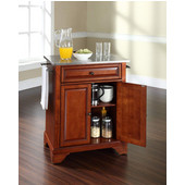 LaFayette Stainless Steel Top Portable Kitchen Island in Classic Cherry Finish, 28-1/4'' W x 18'' D x 36''H
