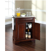 LaFayette Stainless Steel Top Portable Kitchen Island in Vintage Mahogany Finish, 28-1/4'' W x 18'' D x 36''H