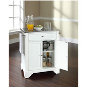 LaFayette Stainless Steel Top Portable Kitchen Island in White Finish, 28-1/4'' W x 18'' D x 36''H