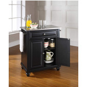 Cambridge Stainless Steel Top Portable Kitchen Island in Black Finish, 28-1/4'' W x 18'' D x 36''H