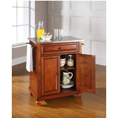 Cambridge Stainless Steel Top Portable Kitchen Island in Classic Cherry Finish, 28-1/4'' W x 18'' D x 36''H
