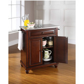 Cambridge Stainless Steel Top Portable Kitchen Island in Vintage Mahogany Finish, 28-1/4'' W x 18'' D x 36''H