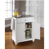Cambridge Stainless Steel Top Portable Kitchen Island in White Finish, 28-1/4'' W x 18'' D x 36''H