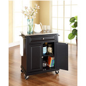 Stainless Steel Top Portable Kitchen Cart/Island in Black Finish, 28-1/4'' W x 18'' D x 36''H