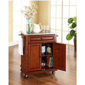 Stainless Steel Top Portable Kitchen Cart/Island in Classic Cherry Finish, 28-1/4'' W x 18'' D x 36''H
