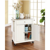 Stainless Steel Top Portable Kitchen Cart/Island in White Finish, 28-1/4'' W x 18'' D x 36''H