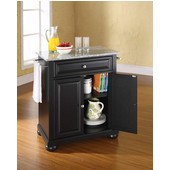 Alexandria Solid Granite Top Portable Kitchen Island in Black Finish, 28-1/4'' W x 18'' D x 36''H